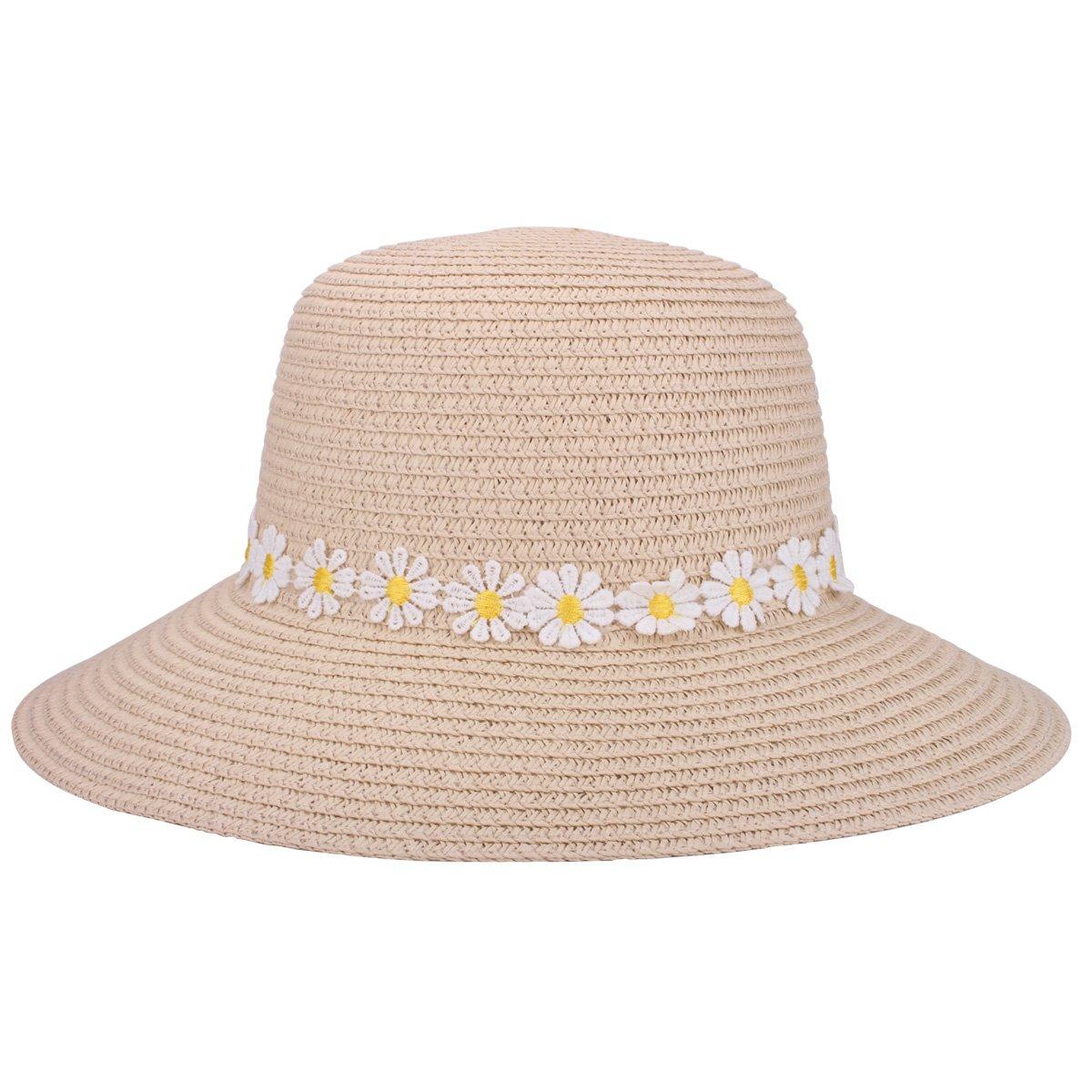 YOPINDO Sombrero de paja para mujer UPF 50+ Big Brim Sombrero de playa  plegable Summer ... 9a96d5d8bab3