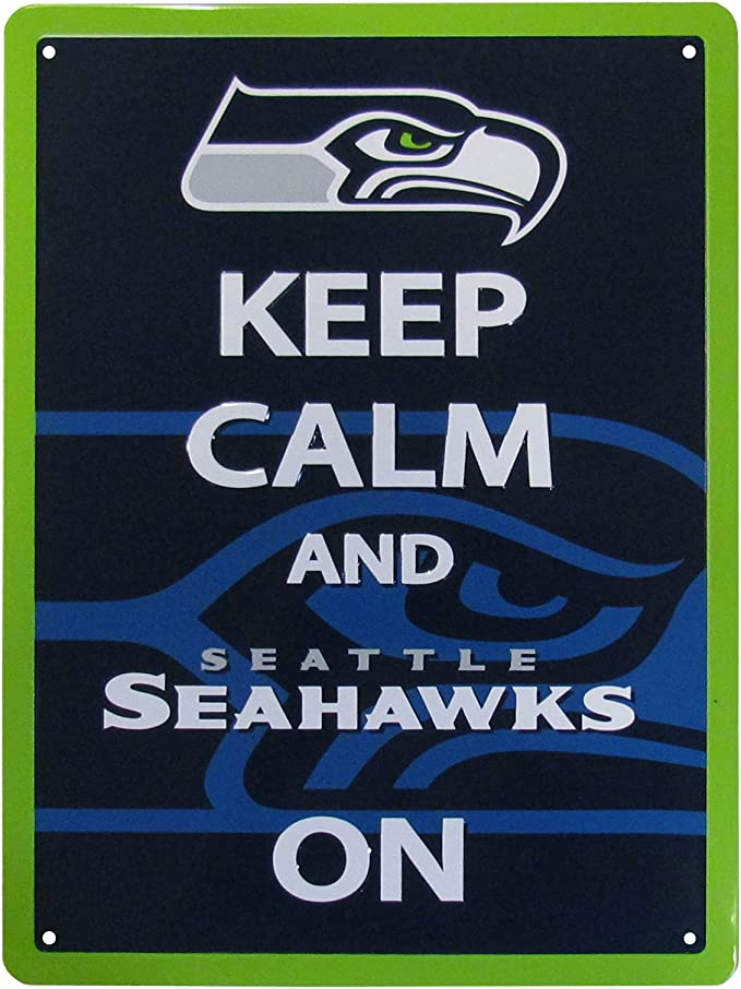 Nfl Siskiyou Sports Fan Shop Seattle Seahawks Keep Calm Sign 12 Inch Team Color Clothing Amazon Com