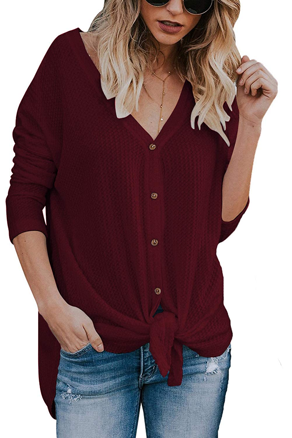 JOSIFER Women's V Neck Button Down Loose Fitting Shirts Waffle Knit Tunic Blouse