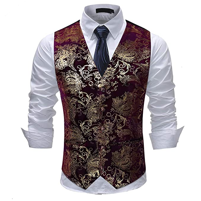 Men's Steampunk Vests, Waistcoats, Corsets Cloudstyle Mens Single Breasted Vest Dress Vest Slim Fit Paisley Printed Prom Formal Suit Vest Waistcoat $26.99 AT vintagedancer.com