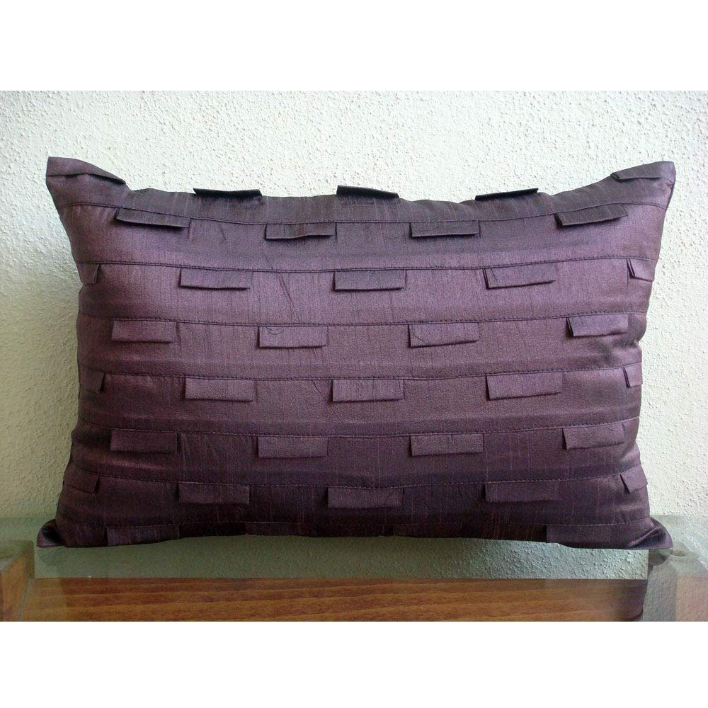 The HomeCentric Handmade Plum Lumbar Pillow Cover, Solid Color Pintucks Pillows Cover, 12 x20 Lumbar Pillow Cover, Modern Lumbar Pillow Cover, Rectangle Silk Lumbar Pillow Cover – Plum Stripe