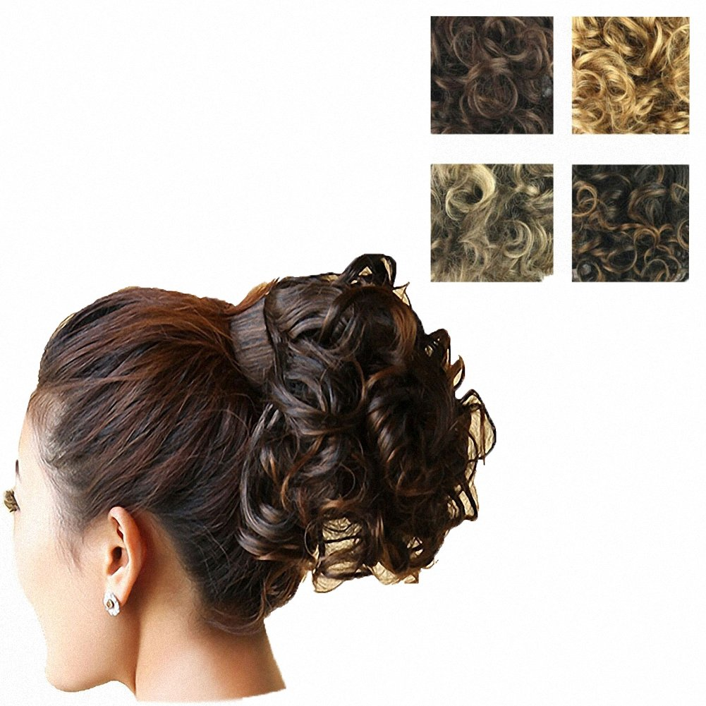 PrettyWit Wavy Curly Messy Hair Bun Extensions Chignons Hair Piece Wig Wrap Around Hair Scrunchy Scrunchie Hair Bun Updo Hairpiece Ponytail Hair Extensions-Light Ash Blonde & Bleach Blonde 1003