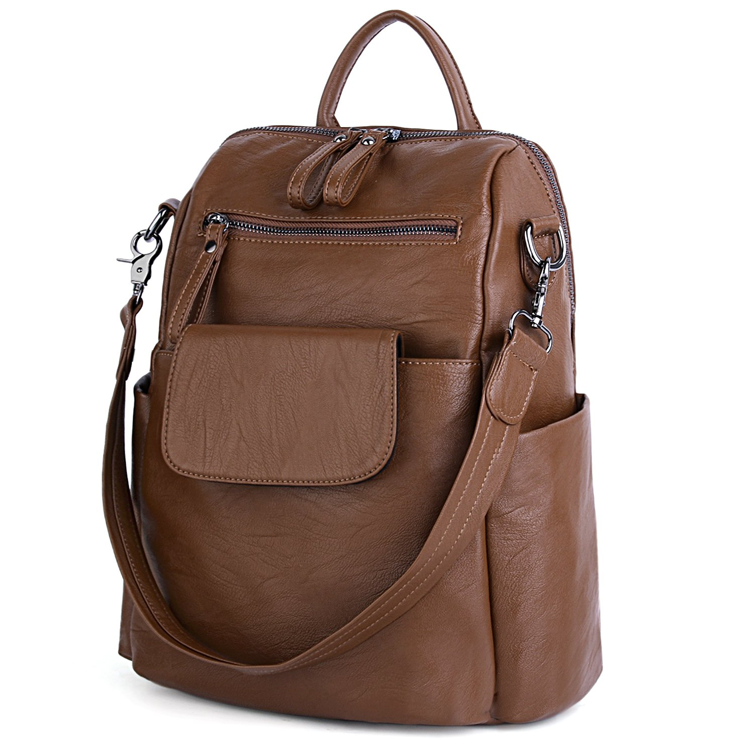 UTO Women Backpack Purse 3 ways PU Washed Leather Ladies Rucksack Shoulder Bag B Brown by UTO
