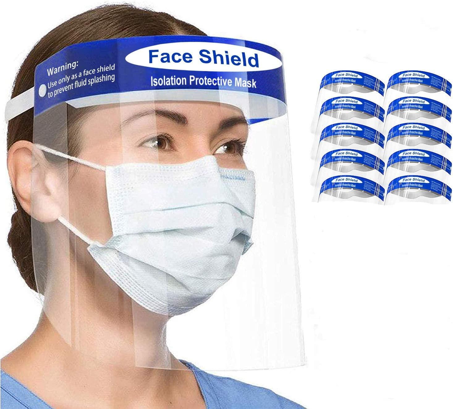 Nyche Designs 10pcs【US Stock 3-7 Days Delivery】 Face Transparent Shield,Lightweight Transparent Shield with Clear Wide Visor Spitting,Clear Wide Visor Spitting