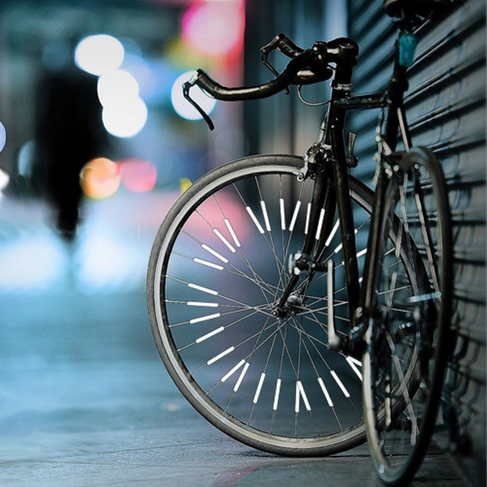 Gold Happy 24 Pcs/Set White Reflective Bicycle Spokes Riding Rim Mounting Placement Safety Warning Light Tube Bike Wheel Spoke Reflector