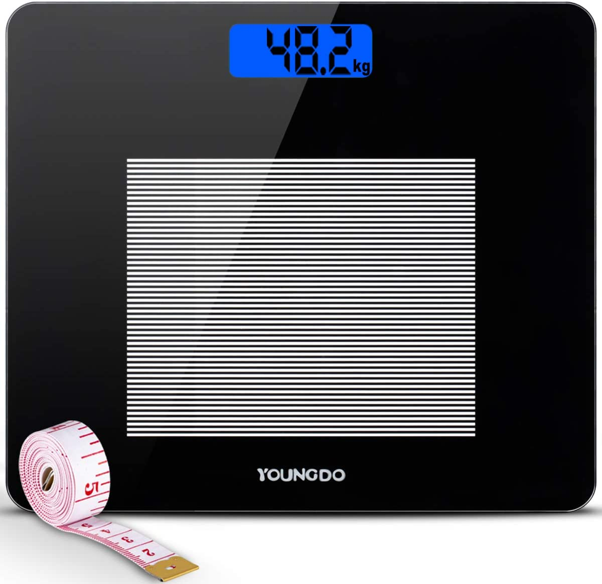 YOUNGDO Digital Bathroom Scale, Highly Accurate Body Weight Scales with Body Tape Measure, Large Blue LCD Backlight Display, 400 Pounds