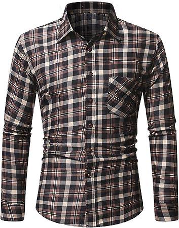 LFANH Gruesa Camisa de Tela Escocesa, Hombres Adelgazan la Manga Larga a Cuadros Camisa de la Manera Ocasional de la Camisa de la Personalidad y Transpirable Brown L: Amazon.es: Hogar