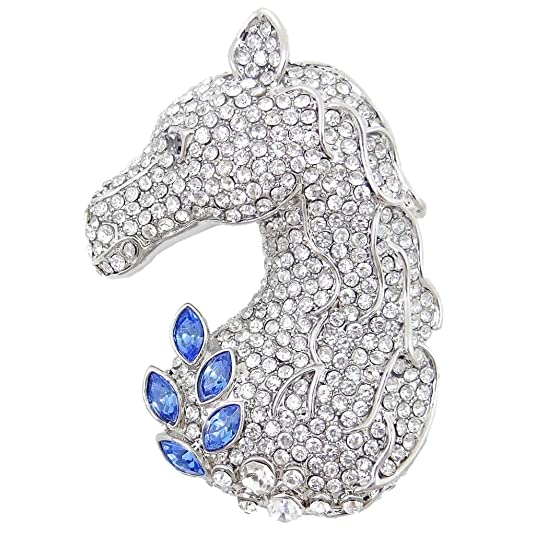 1940s Costume Jewelry: Necklaces, Earrings, Brooch, Bracelets EVER FAITH Austrian Crystal Lovely Animal Horse Head with Leaves Brooch $12.97 AT vintagedancer.com