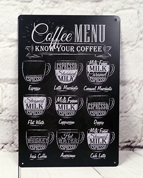COFFEE MENU METAL SIGN VINTAGE TIN PLAQUE RETRO AMERICAN DINER ART CAFE BAR