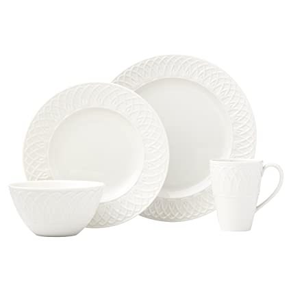 Lenox 4 Piece British Colonial Carved Place Dinnerware Set White  sc 1 st  Amazon.com & Amazon.com | Lenox 4 Piece British Colonial Carved Place Dinnerware ...
