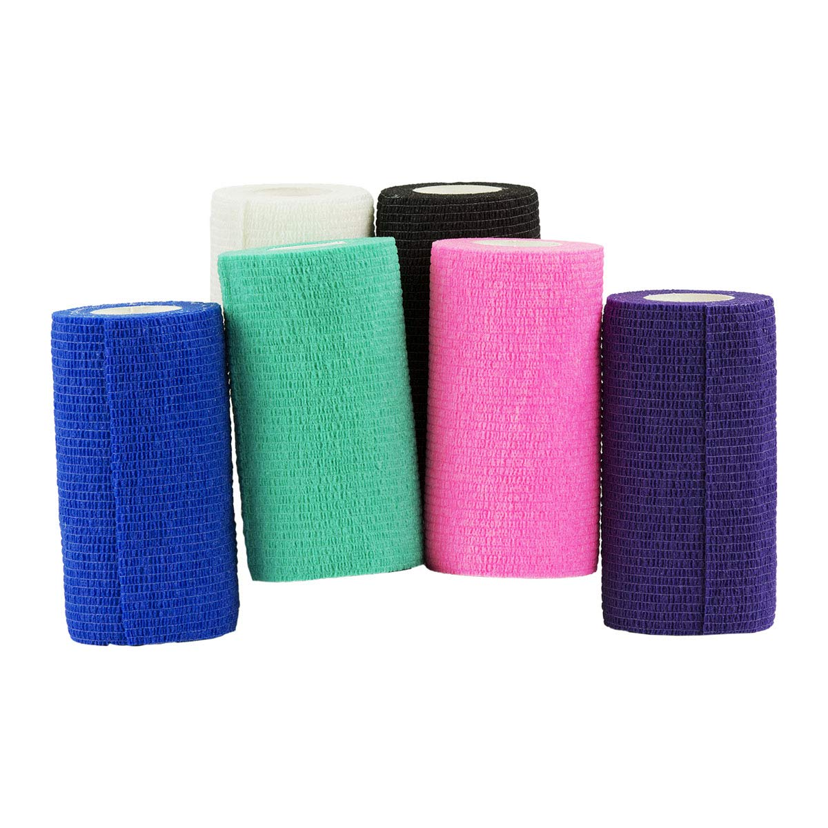 BOCCS Cohesive Flexible Bandage, 4'' x 5yds, Box of 100, First Aid Vet Tape, Assorted Colors, Equine, Veterinary & Multi-use