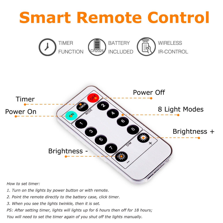 remote timer 40 led wooden photo clip light globe