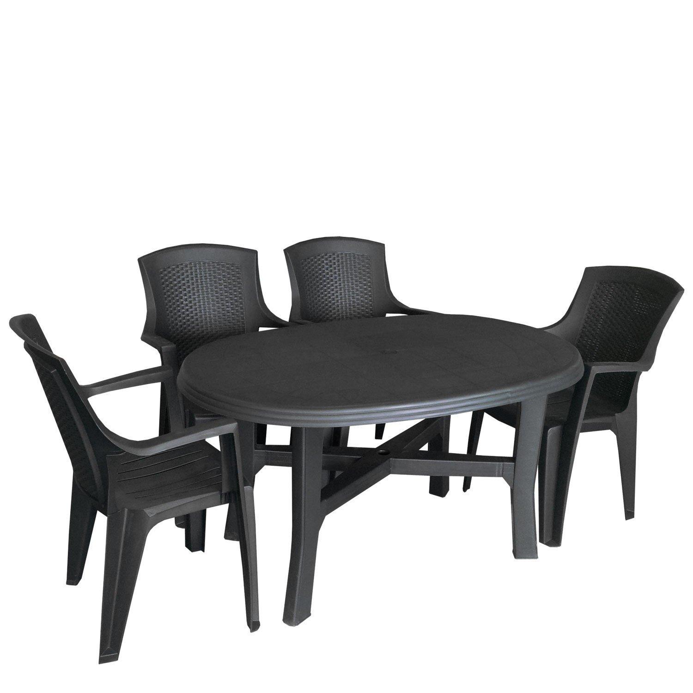 5tlg campingm bel gartenm bel campingm bel set vollkunststoff 165x110cm gartentisch oval. Black Bedroom Furniture Sets. Home Design Ideas