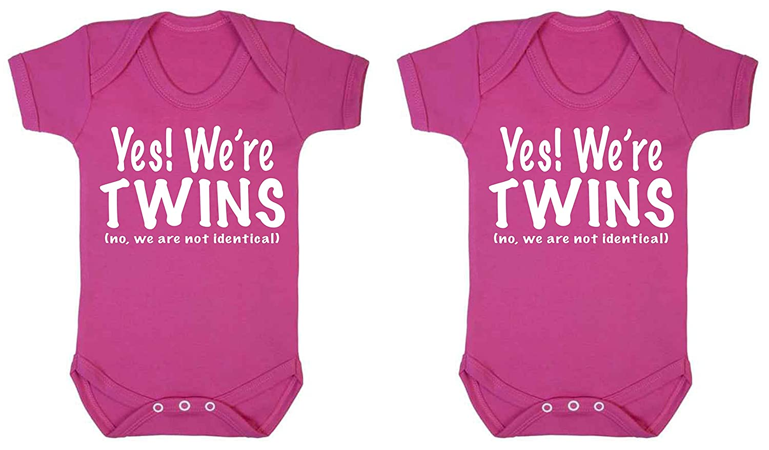 "taglia unica Set di due pagliaccetti per bambino con la scritta /""Yes we/'re twins lingua italiana non garantita we/'re not identical/"" no"