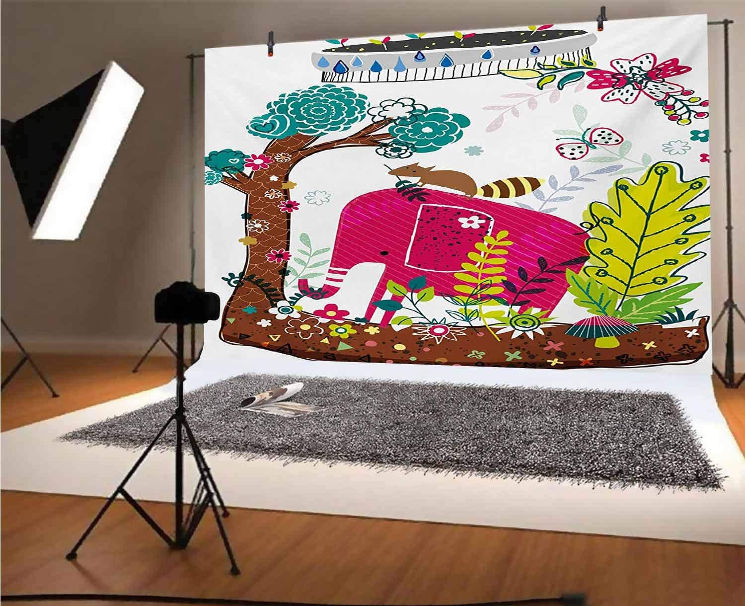 Kids 8x6 FT Vinyl Backdrop PhotographersColorful Handdrawn Animals Elephant Squirrel Tree Floral Jungle Nature Illustration Background for Party Home Decor Outdoorsy Theme Shoot Props