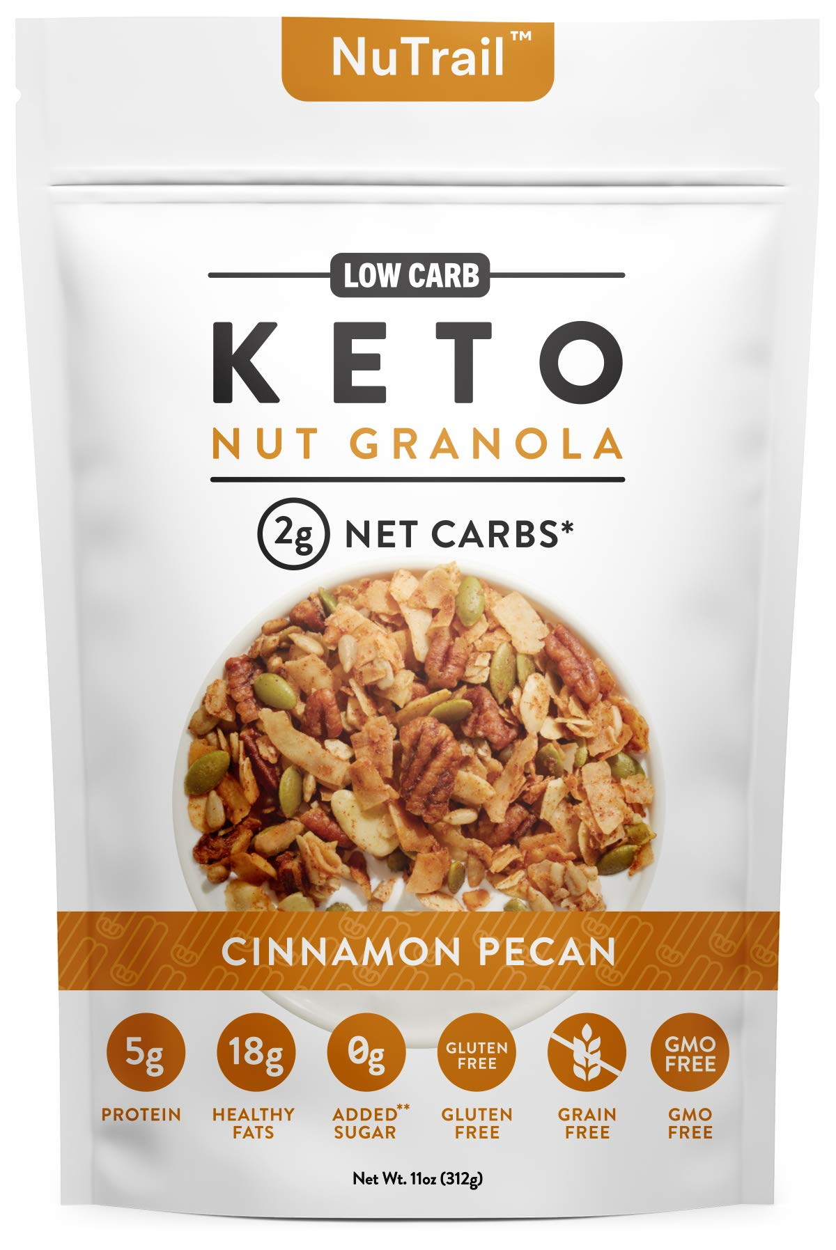 NuTrail™ - Keto Nut Granola Healthy Breakfast Cereal - Low Carb Snacks & Food - 2g Net Carbs - Almonds, Pecans, Coconut and more (11 oz) (1 Count)