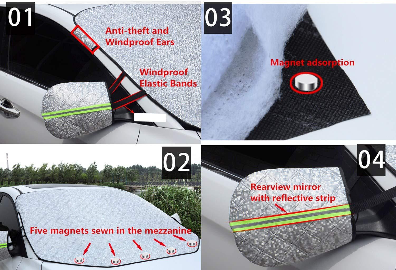 116cm TOPWINNER Protezione Parabrezza Magnetico Auto Antighiaccio Ghiaccio Polvere Ombrellone Impermeabile Antivento Argento 147