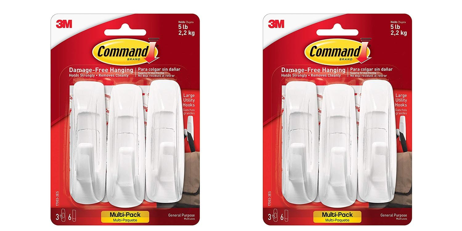 Command Large Utility Hook White 3 Hooks 6 Strips 17003 3ES 2pack