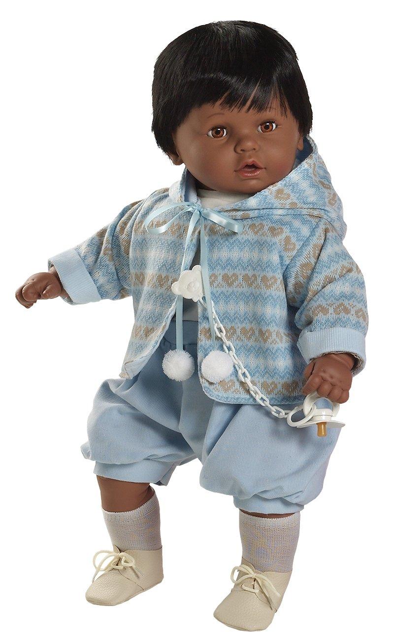 Berbesa - Baby dulzón negrito llorón, muñeco con vestido azul azul azul (80271N) c79964