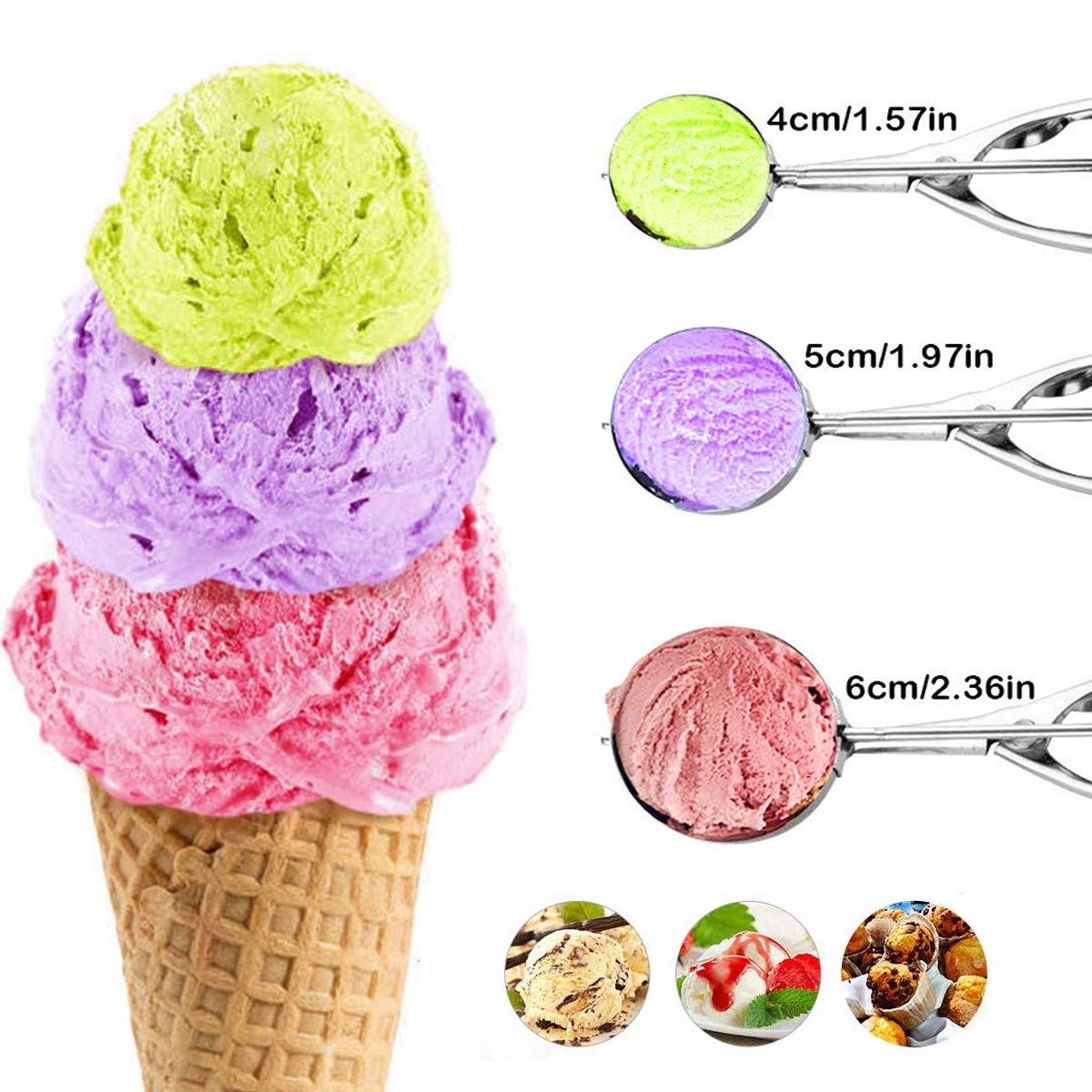 ice Cream Scoop with Trigger Mengger 6 Pcs Stainless Steel Scooper Professional Different Sizes Dipper for Fruits Water Melon Scoop