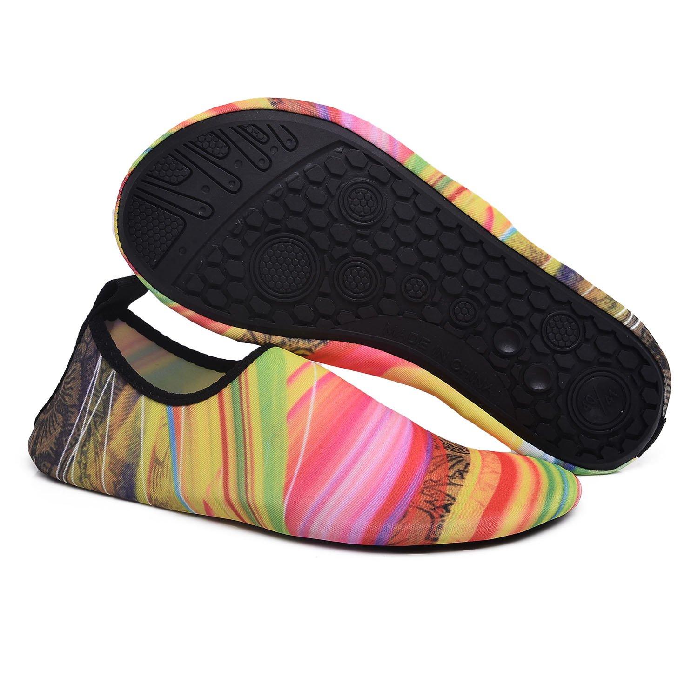 RUNSOON Hombres Mujeres Niños Zapatos de agua Calcetines descalzos Aqua de  secado rápido de verano para Yoga Swim Pool Beach S04 Multicolor a 4c1f0b938f0