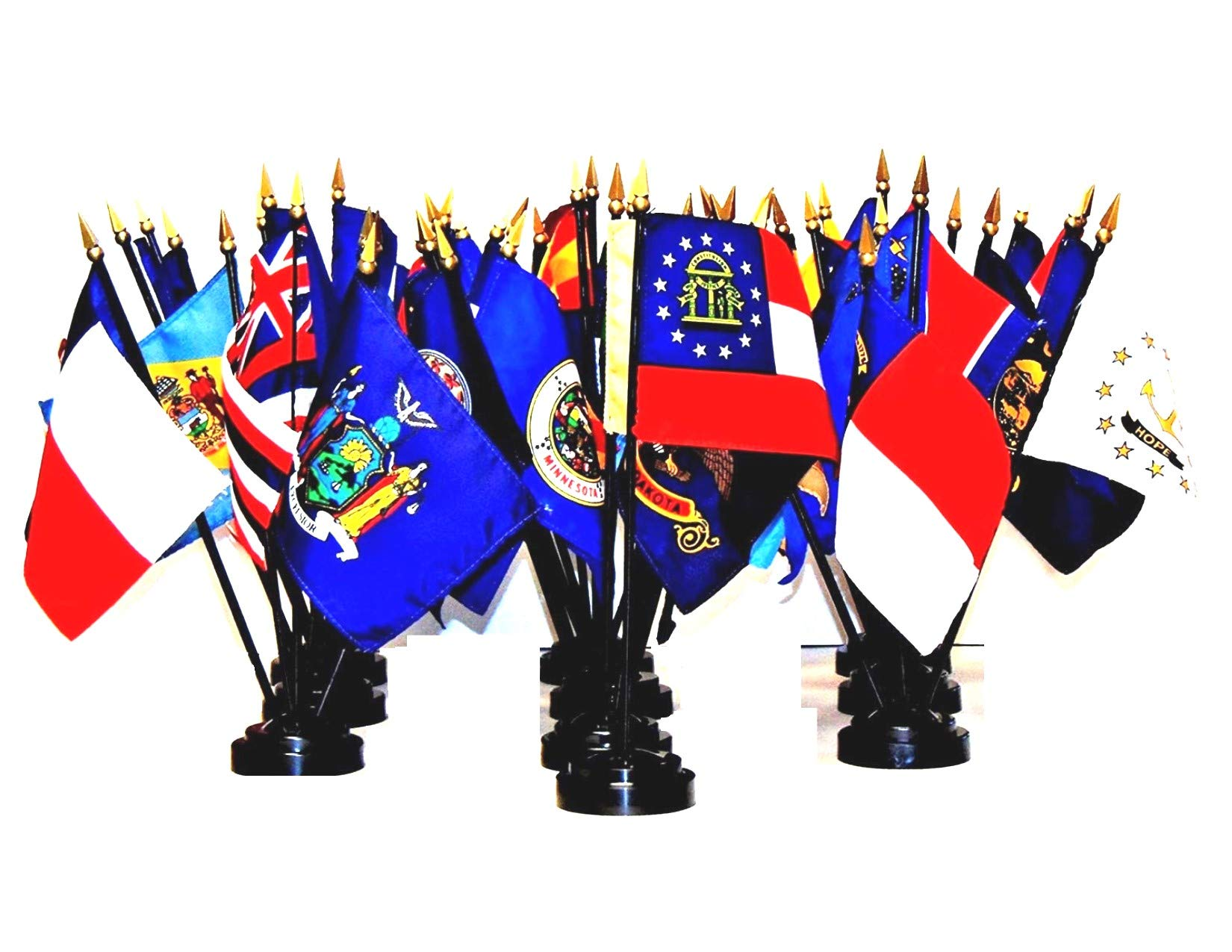 Made in The USA!! 50-State World Flag Set with Bases-50 Rayon 4''x6'' Flags, One Flag for Each State and Ten 5-Hole Bases; 4x6 Miniature Desk & Table Flags, Small Mini Stick Flags