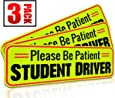"""Student Driver Magnet Car Signs for the Novice or Beginner. Better than A Decal or Bumper Sticker (Reusable) Reflective Magnetic Large Bold Visible Text (10"""" Be Patient Reflective)"""