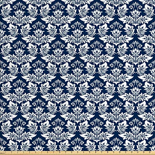 Ambesonne Damask Fabric by The Yard, Antique Floral Ornament with Baroque Style Curls Curves Foliage Nature Theme, Decorative Fabric for Upholstery and Home Accents, 3 Yards, Navy Blue White