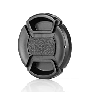 Camera 52mm Lens Cap Center Pinch with Lens Cap Leash Hole Bundle for DSLR Cameras Nikon Sony Canon & Other DSLR Cameras UV Lens (52mm)- 4 Pack