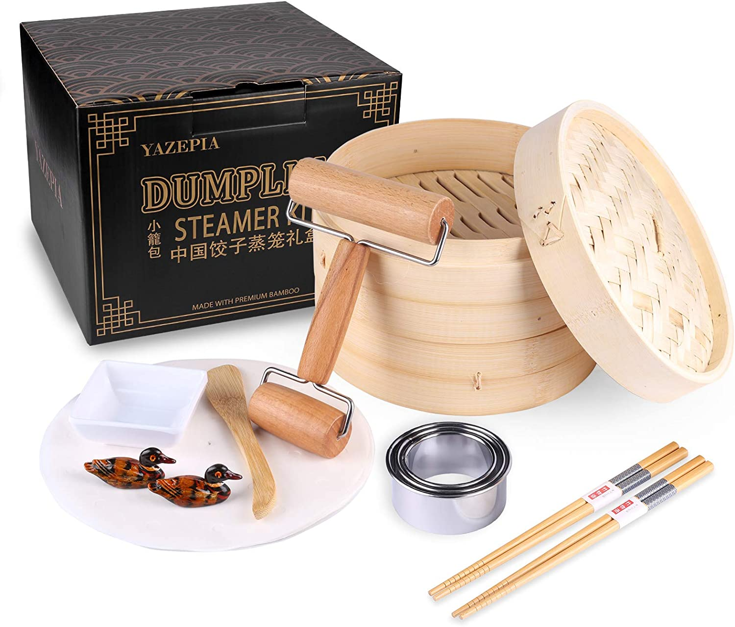 Yazepia Bamboo Steamer Basket Kit, Dumpling Maker Cookware Mold Sets, Natural Bamboo Handmade cookware Mold Sets, Healthy Food Steamer, 8 Piece Chinese Soup Dumpling Kit Unique Gifts for Friends