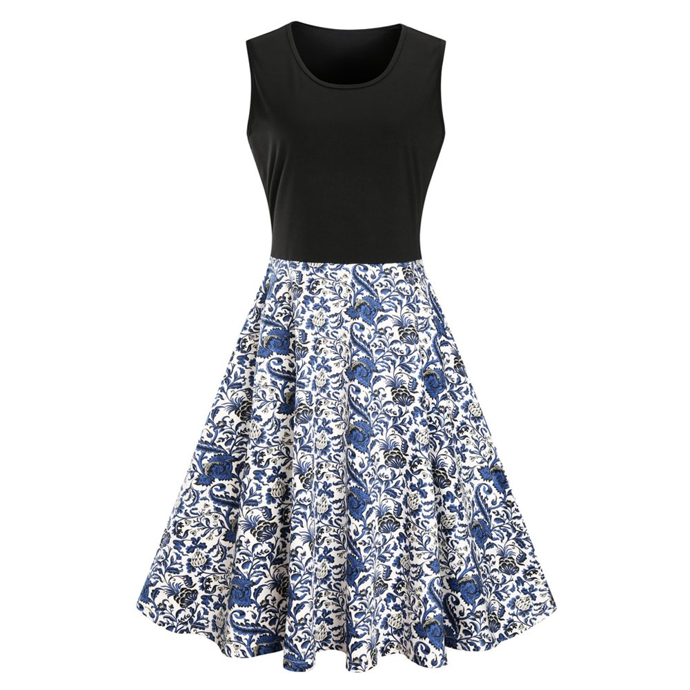 5781acffea1a Feather: Vintage Dress,Knee Length, Round Neck,Floral Skirt  Bottom,Sunflower Printed,Patchwork,The fabric is comfortable and elastic,  flattering on all body ...