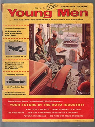Young Men 8/1956-flathead Ford engine-hot rod-model car kits-VG- at