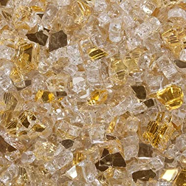 Celestial Fire Glass High Luster, 1/4  Reflective Tempered Fire Glass in Sunstorm Gold, 10 Pound Jar