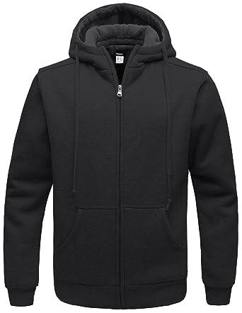 Wantdo Men's Warm Sweatshirt Sherpa Lined Hooded Cotton Fleece Slim Hoodie  Jacket Light Grey Large