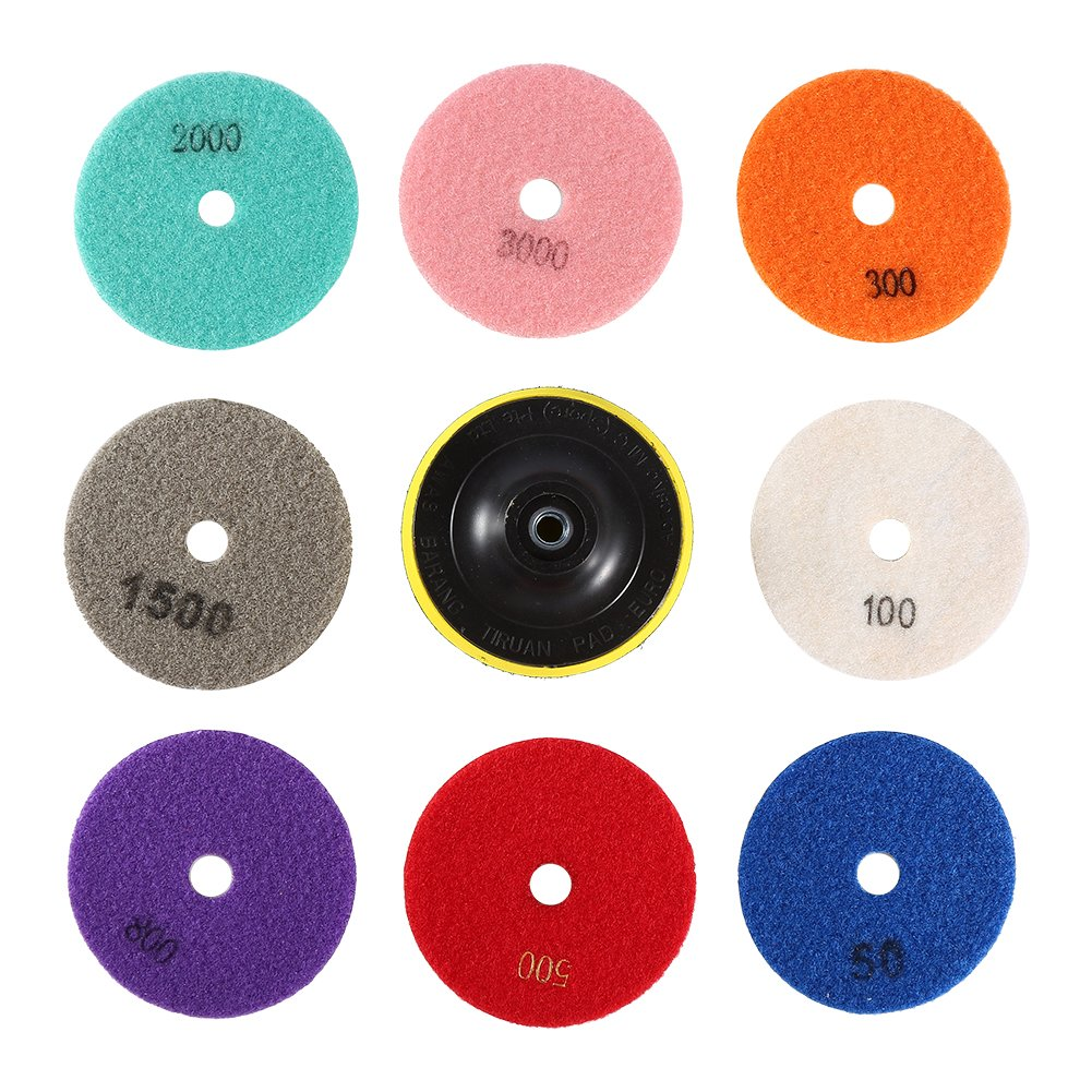 Nixikoo® Diamond Wet Dry Polishing Pads Disc Set Kit for Granite Marble Concrete Stone Buffing Polishing, 4 inch , Pack of 9, Includes 8 Grinding Discs(#50/100/300/500/800/1500/2000/3000)and 1 Sticky
