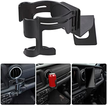 NovelBee Multi-Function Drink Cup Phone Holder,2 in 1 Bolt on Stand Bracket Organizer Fit for 2018-2020 Jeep Wrangler JL JLU /& Jeep Gladiator JT Trunk