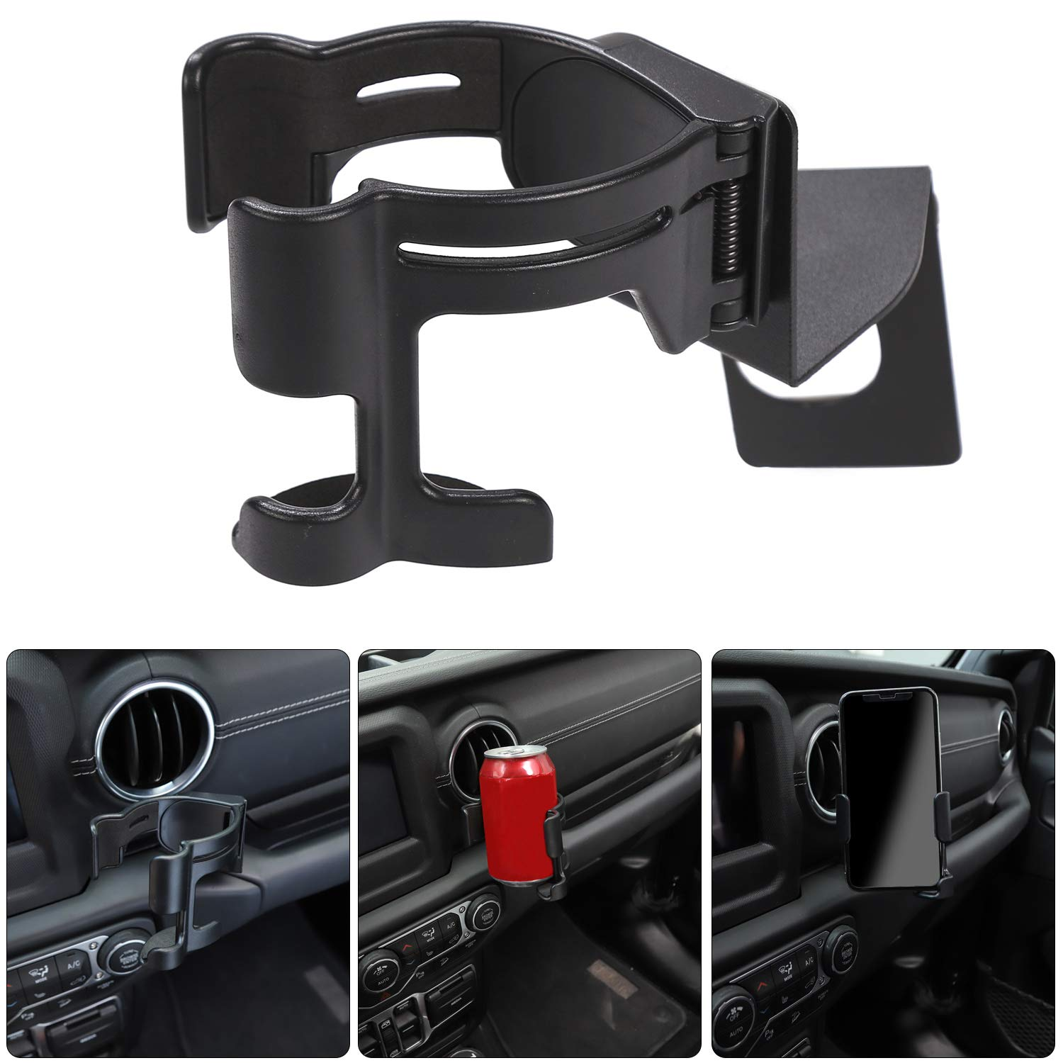 Multi-Function Cup Holder Phone Mount Bolt-on Stand Bracket Organizer for 2018 Jeep Wrangler JL /& Unlimited Voodonalagga