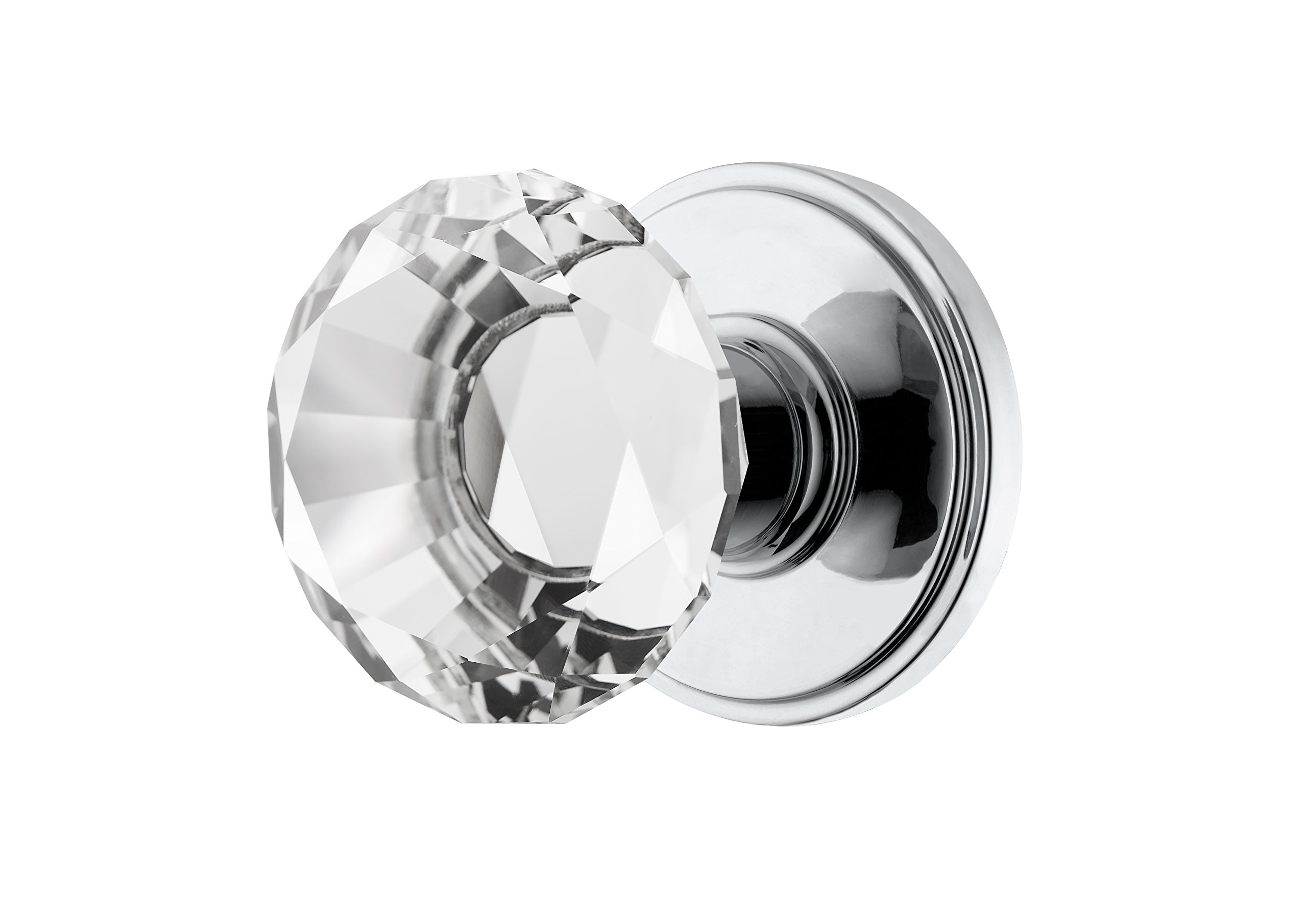 Decor Living, AMG and Enchante Accessories Diamond Crystal Door Knobs with Lock, Privacy Function for Bed and Bath, Venus Collection, DK06C-PR POC, Polished Chrome
