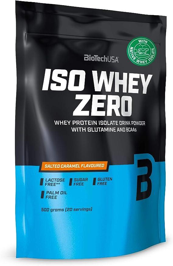 BioTechUSA Iso Whey ZERO, Lactose, Gluten, Sugar FREE, Whey Protein Isolate, 500 g, Caramelo salado