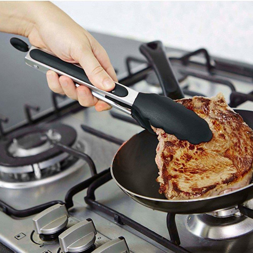 rameng Zange Küche BBQ Grill Professionel Grill Zangen mit Sicherheitsverschluß Lebensmittel Brot Clip