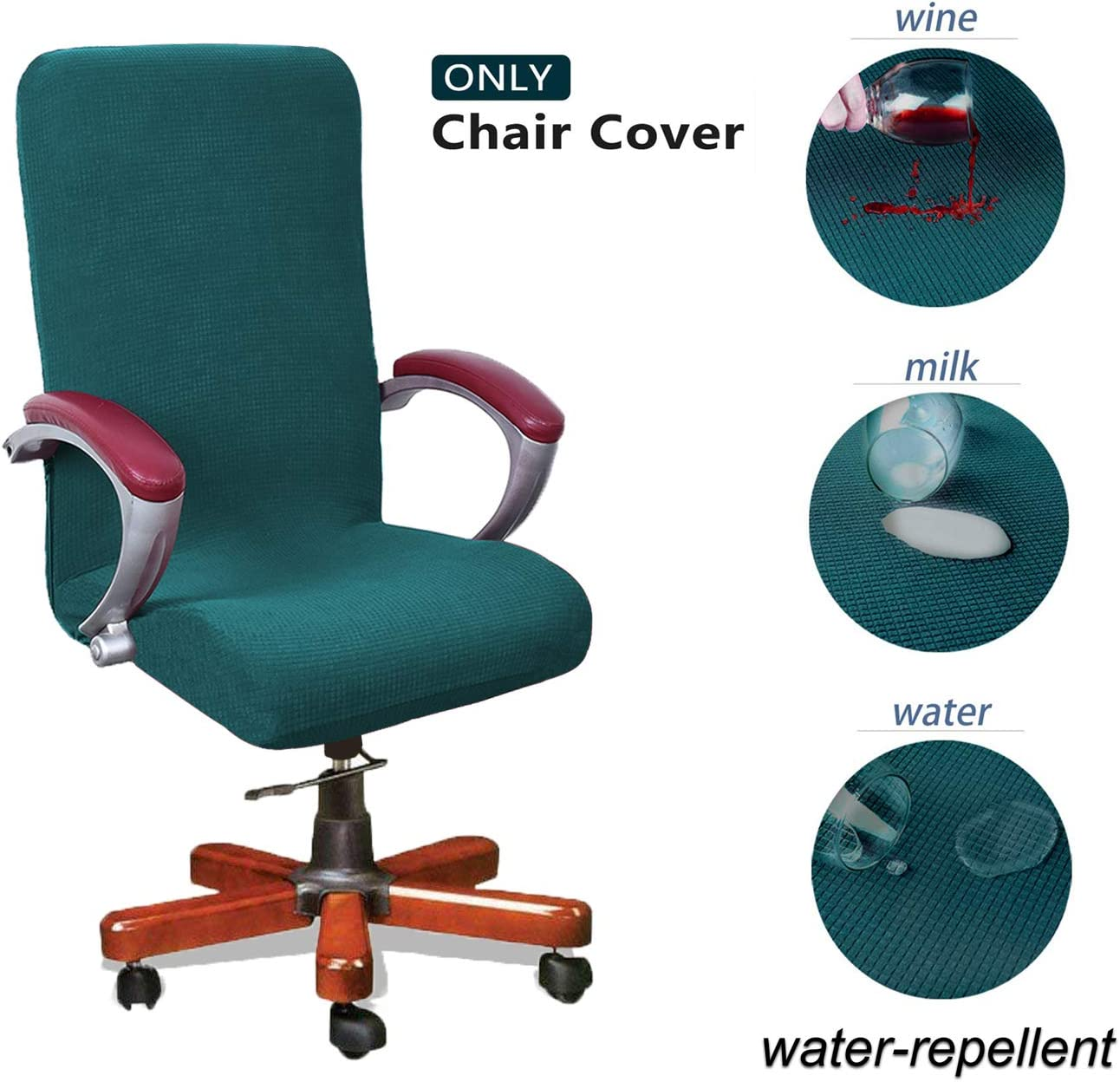 WOMACO Waterproof Office Chair Cover, Computer Office Chair Covers Water-Repellent Universal Boss Chair Covers Modern Simplism Style High Back Chair Slipcover (Teal, Large)
