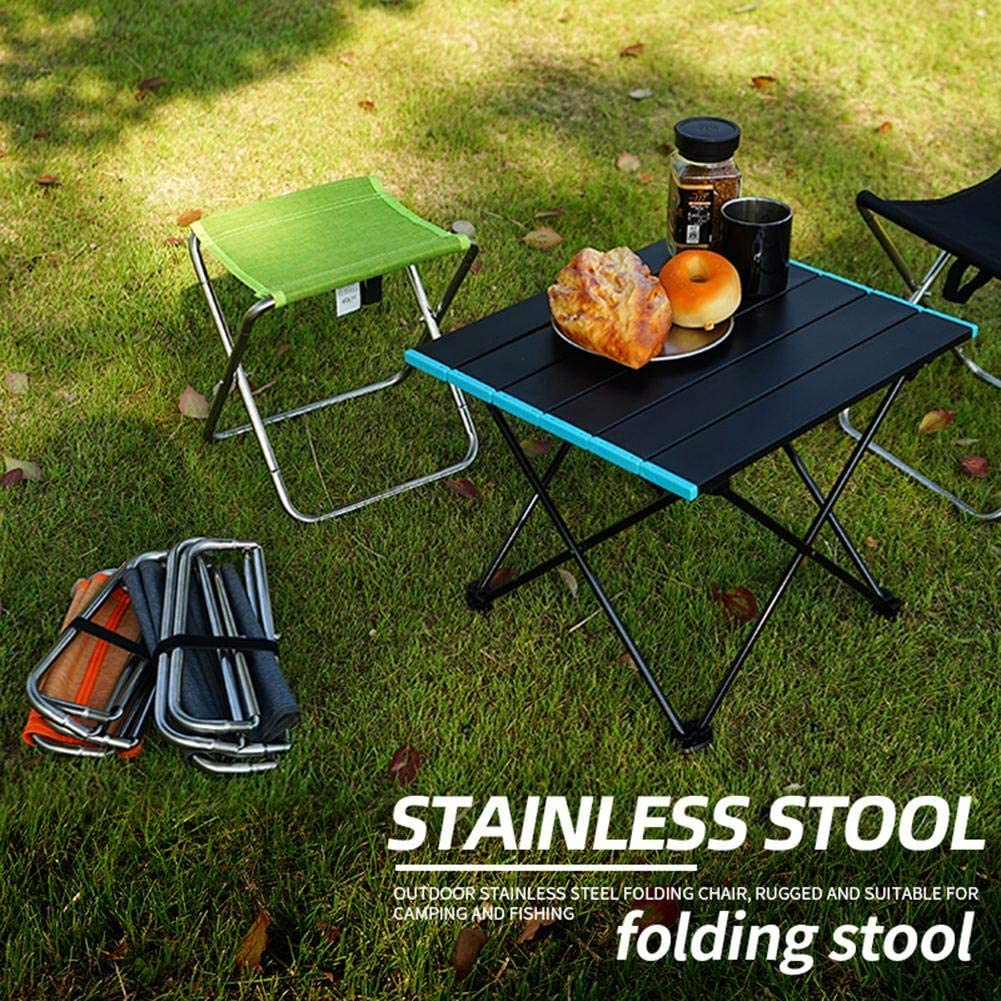 redcolourful Folding Chair Stainless Steel Spring Folding Chair Outdoor Fishing Chair Camping Barbecue Folding Stool gray Durable and Practicle Green