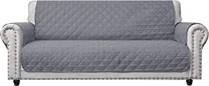 CHHKON 100% Waterproof Sofa Cover with Side Pockets Quilted Furniture Protector Sofa Slipcover for Children, Pets for Leather Couch (Light Grey, 78'')
