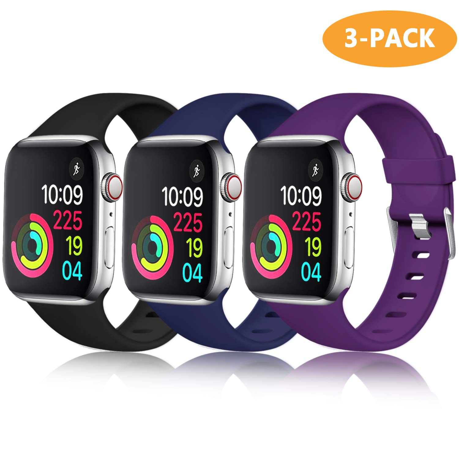 Laffav Compatible with Apple Watch Band 40mm 38mm for Women Men, Black, Midnight Blue, Purple, 3 Pack, S/M