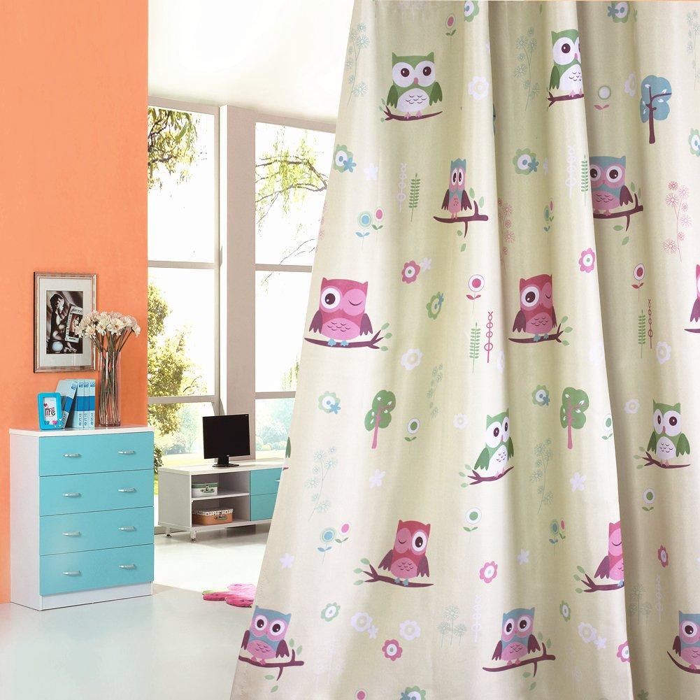 1 Panel Cartoon Print Owl Room Darkening Silver Grommets Curtain for Children Kids' Room (39'' by 63'',Palm Green)