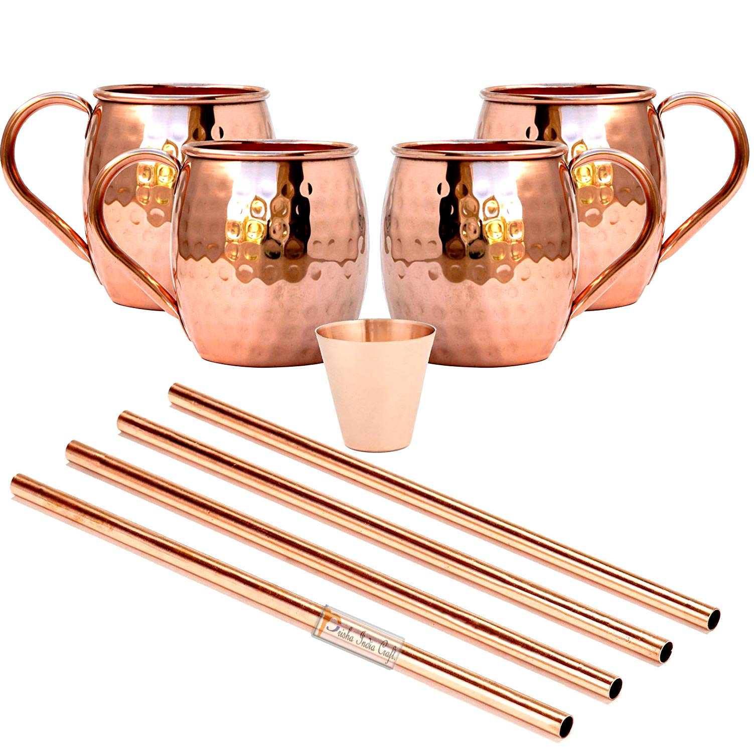 Prisha India Craft Moscow Mule Copper Mugs - Set of 4-100% HANDCRAFTED - Pure Solid Copper Mugs 16 oz Gift Set with BONUS: Highest Quality Cocktail Copper Straws and 1 Shot Glass