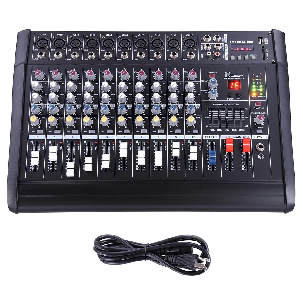 AW 10 Channel Professional Powered Mixer with USB Slot Power Mixing 110V 4336352488