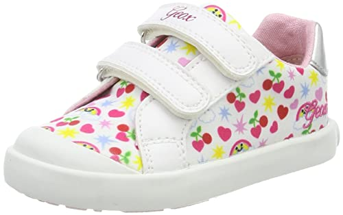 Geox B Kilwi Girl, Zapatos Primeros Pasos para Bebés, Blanco (White/Multicolour), 26 EU