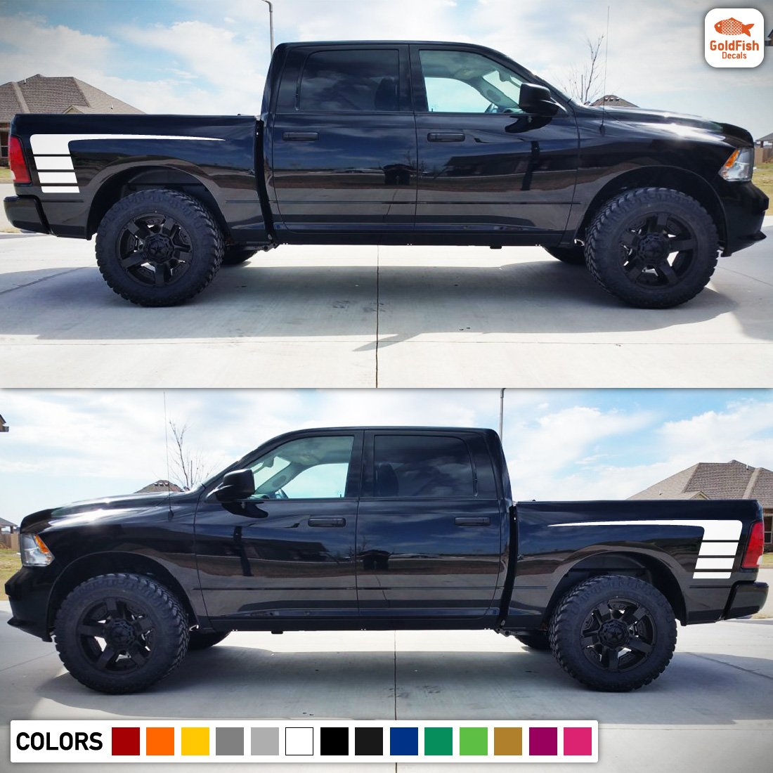 Amazon com decal sticker graphic side hockey stripe kit compatible with dodge ram 1500 2500 3500 automotive