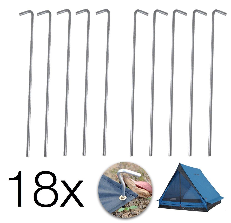 21 cm lang 6 mm dick Zelt-Hering Semptec Urban Survival Technology Zeltheringe: 10er-Set XL-Stahl-Zelthaken f/ür alle Bodenarten